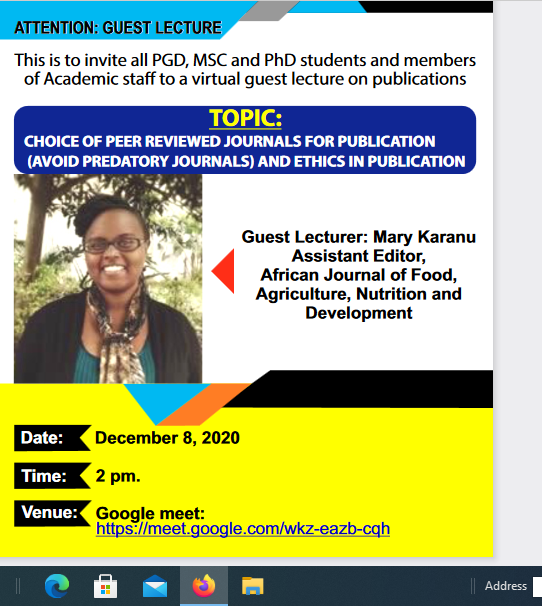 TOPIC: CHOICE OF PEER REVIEWED JOURNALS FOR PUBLICATION (AVOID PREDATORY JOURNALS) AND ETHICS IN PUBLICATION