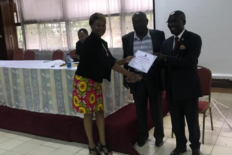 Certificate of Recognition issued to Dr. Kunyanga